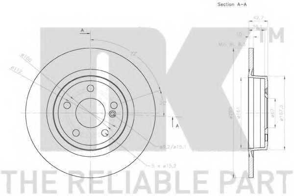 Тормозной диск NK 2033126 - изображение 2