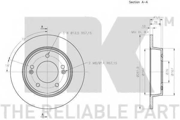Тормозной диск NK 203446 - изображение 2