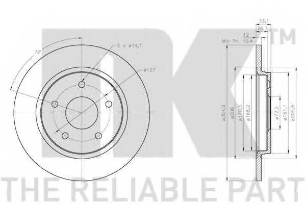 Тормозной диск NK 209334 - изображение 1