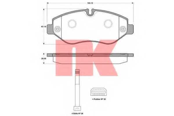 Колодки тормозные дисковые <b>NK 222382</b> - изображение