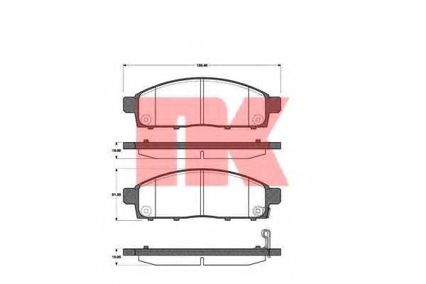 Колодки тормозные дисковые для MITSUBISHI L 200(KA#T,KB#T,KJ#,KK#,KL#), PAJERO(K90,KG#,KH#) <b>NK 223033</b> - изображение