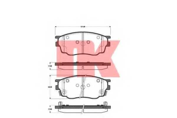 Колодки тормозные дисковые для MAZDA 6(GG,GY) / SAAB 9-3(YS3F), 9-3X / VOLVO C70 <b>NK 223244</b> - изображение
