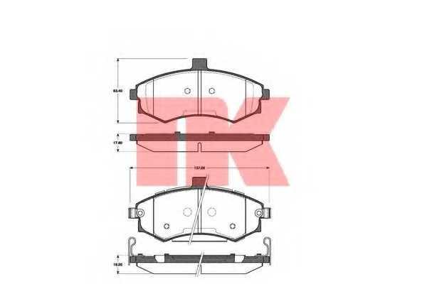 Колодки тормозные дисковые для HYUNDAI ELANTRA(XD), MATRIX(FC) / SUBARU BRZ / TOYOTA GT 86(ZN6#) <b>NK 223413</b> - изображение