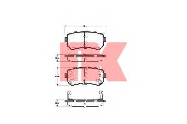 Колодки тормозные дисковые для HYUNDAI ACCENT, i20, i30 CW, i30, ix20, ix35 / KIA CEED, CERATO KOUP, CERATO, PICANTO, PRO CEED, RIO, SPORTAGE <b>NK 223521</b> - изображение