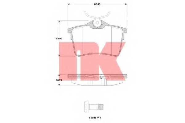 Колодки тормозные дисковые NK 223748 - изображение