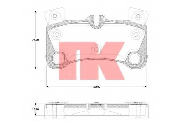 Колодки тормозные дисковые для AUDI Q7(4L) / PORSCHE CAYENNE(955,9PA) / VW TOUAREG(7L6,7L7,7LA) <b>NK 224799</b> - изображение