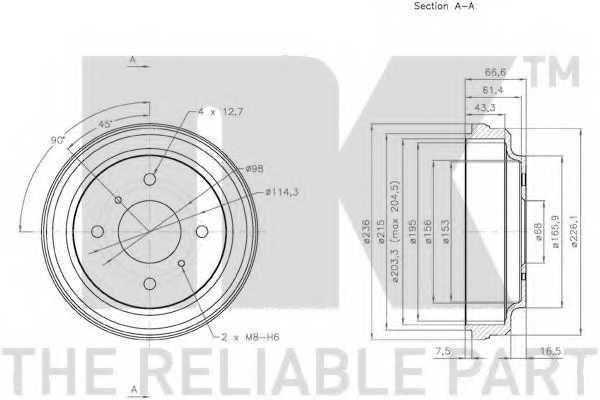 Тормозной барабан NK 252225 - изображение 1