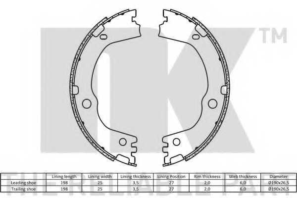 Комплект колодок стояночной тормозной системы NK 2735834 - изображение 1
