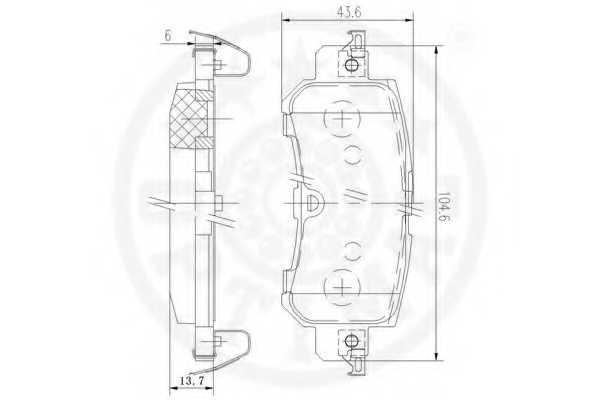 Колодки тормозные дисковые задний для MAZDA CX-5(GH,KE) <b>OPTIMAL 12591</b> - изображение 2