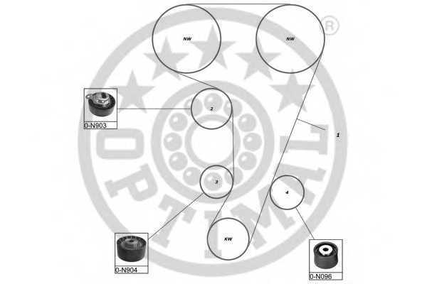 Комплект ремня ГРМ OPTIMAL SK-1094 - изображение