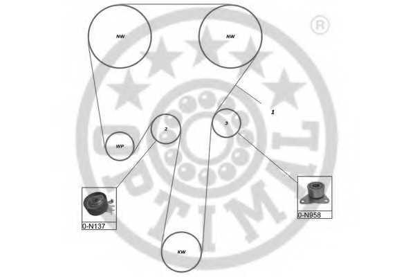 Комплект ремня ГРМ OPTIMAL SK-1491 - изображение