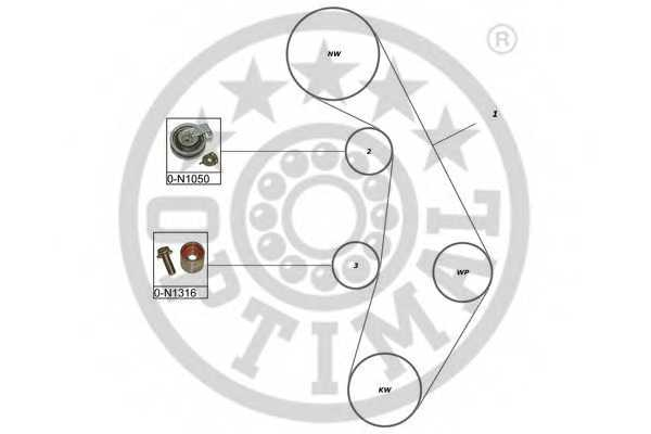 Комплект ремня ГРМ OPTIMAL SK-1640 - изображение