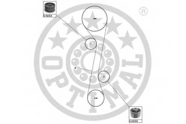 Комплект ремня ГРМ OPTIMAL SK-1651 - изображение