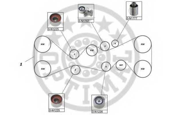 Комплект ремня ГРМ OPTIMAL SK-1719 - изображение