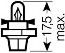 Лампа накаливания 12В 1.2Вт OSRAM 2351 MFX6 - изображение