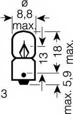 Лампа накаливания 12В 2Вт OSRAM 3796 - изображение 1