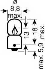 Лампа накаливания T3W 12В 3Вт OSRAM 3894 - изображение 1