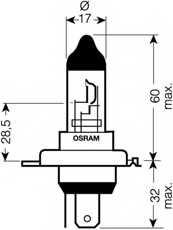Лампа накаливания H4 12В 100/80Вт OSRAM 62203 - изображение