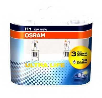 Лампа накаливания H1 12В 55Вт OSRAM OSRAM ULTRA LIFE 64150ULT-HCB - изображение