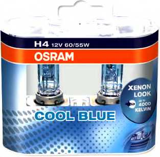 Лампа накаливания H4 12В 60/55Вт +20% OSRAM COOL BLUE INTENSE 64193CBI-HCB - изображение