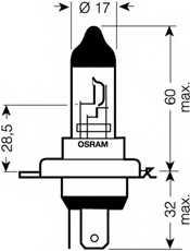 Лампа накаливания H4 12В 60/55Вт +110% OSRAM OSRAM NIGHT BREAKER UNLIMITED 64193NBU-01B - изображение