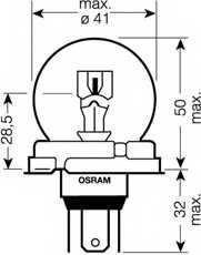 Лампа накаливания R2(Bilux) 12В 100/80Вт OSRAM 64204SB - изображение 1