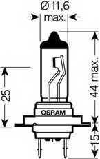 Лампа накаливания H7 12В 55Вт +30% OSRAM SUPER 64210SUP - изображение