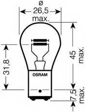 Лампа накаливания 24В 18/5Вт OSRAM 7244 - изображение 1