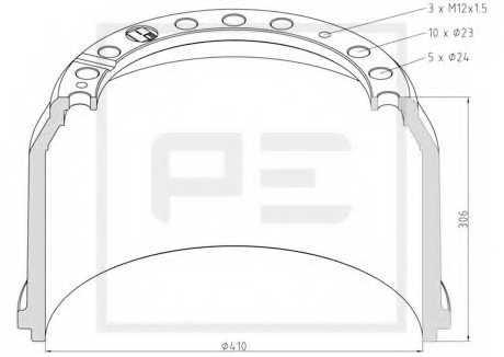 Тормозной барабан PE Automotive 016.403-00A - изображение