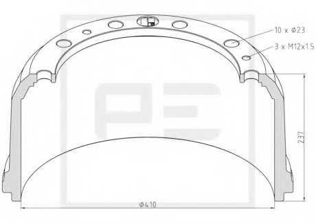 Тормозной барабан PE Automotive 016.491-00A - изображение