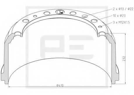 Тормозной барабан PE Automotive 036.414-00A - изображение