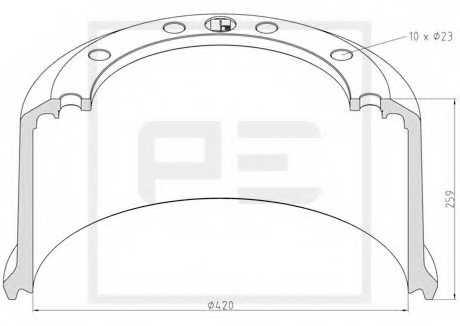 Тормозной барабан PE Automotive 046.425-00A - изображение