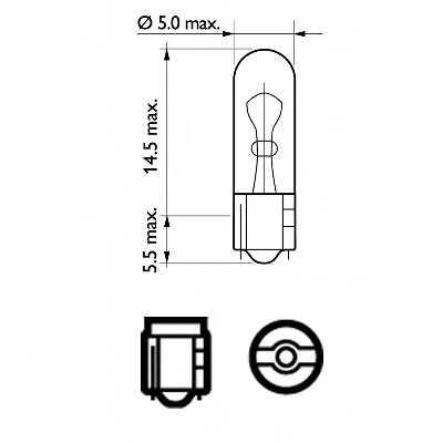 Лампа накаливания 12В 1.2Вт PHILIPS 12516CP - изображение 1