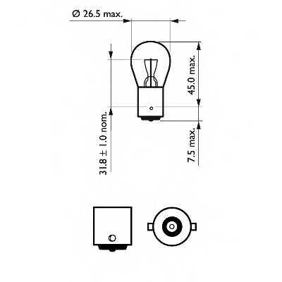 PHILIPS 12498CP - лампа P21W 12V 21W BA15s - изображение 1