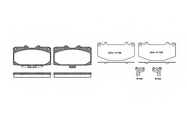 Колодки тормозные дисковые передний для SUBARU IMPREZA(GD,GG) <b>REMSA 0599.12 / PCA059912</b> - изображение