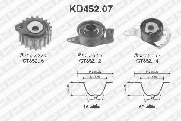 Комплект ремня ГРМ SNR KD452.07 - изображение