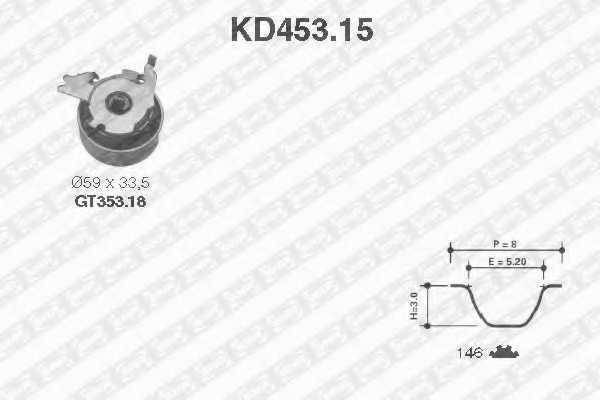Комплект ремня ГРМ SNR KD453.15 - изображение