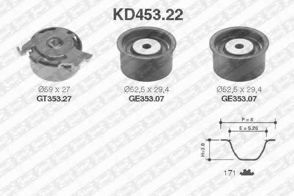 Комплект ремня ГРМ SNR KD453.22 - изображение