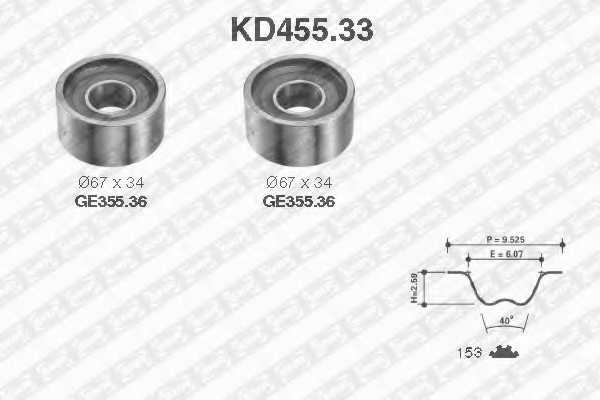 Комплект ремня ГРМ SNR KD455.33 - изображение