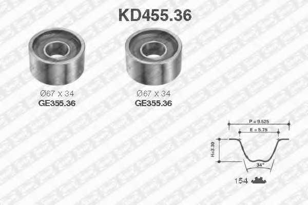 Комплект ремня ГРМ SNR KD455.36 - изображение