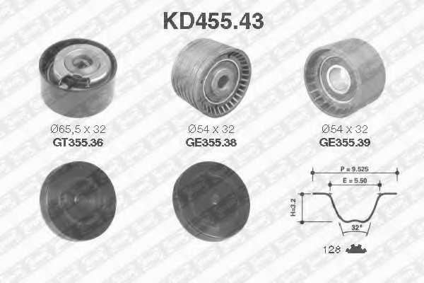 Комплект ремня ГРМ SNR KD455.43 - изображение