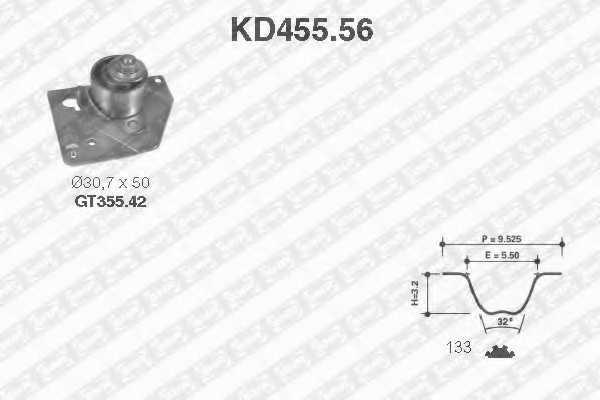 Комплект ремня ГРМ SNR KD455.56 - изображение