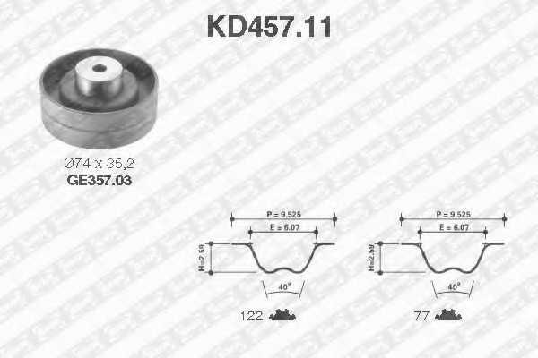 Комплект ремня ГРМ SNR KD457.11 - изображение
