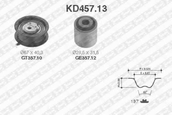 Комплект ремня ГРМ SNR KD457.13 - изображение