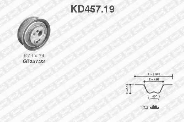 Комплект ремня ГРМ SNR KD457.19 - изображение