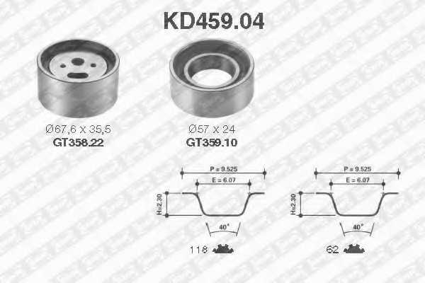 Комплект ремня ГРМ SNR KD459.04 - изображение