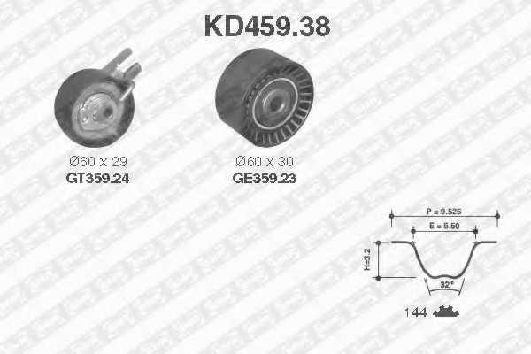 Комплект ремня ГРМ SNR KD459.38 - изображение