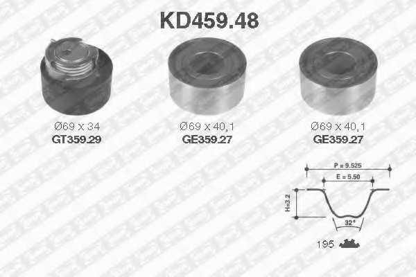 Комплект ремня ГРМ SNR KD459.48 - изображение