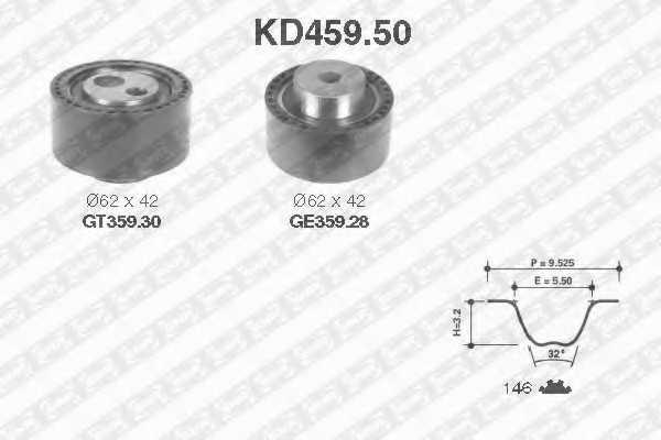 Комплект ремня ГРМ SNR KD459.50 - изображение