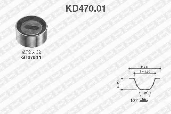 Комплект ремня ГРМ SNR KD470.01 - изображение
